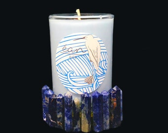 Ritual Candle To De-Stress,Self Care Gift, Sodalite Crystal Point Inside, Lavender, Chamomile, and Geranium, Herbal Candle, Spell Candle