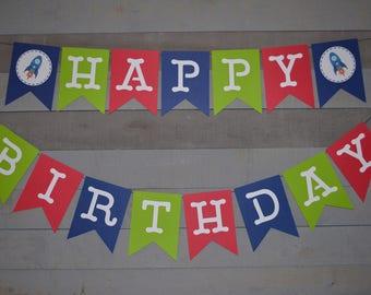 Spaceship Happy Birthday Banner, Rocket Birthday Banner, First Birthday Banner, Red Green and Blue Banner, Birthday Party Decorations