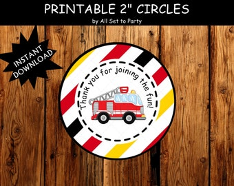 Fire Truck Party, Fire truck Birthday Party Decorations, Party Printable, Thank You Tags, Favor Tags -Instant Download
