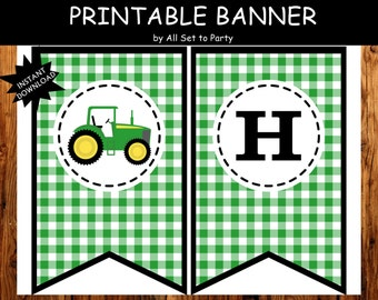 Tractor Party, Farm Birthday Printable, Truck Party, Birthday Banner, -Instant Download