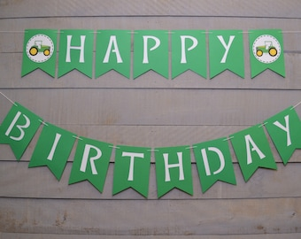 Tractor Happy Birthday Banner, Farm Theme, Green Tractor Birthday Banner, Tractor Banner, Birthday Decorations, Green and White Banner