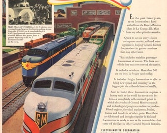 1941 General Motors Locomotive print ad Plant in La Grange Illinois train railroad diesel