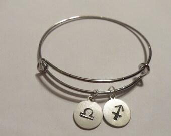 Zodiac sign bangle bracelet, celestial sign Leo charm, zodiac charm bracelet, astrological sign bangle bracelet, hand stamped bracelet, gift
