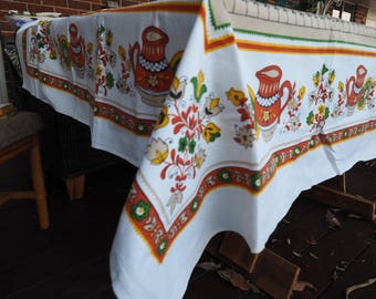 Vintage Tablecloth Table linens Floral Vintage fabric Square Table Cloths 70's Fabric reclaimed linens 1970's Housewarming Gifts Retro