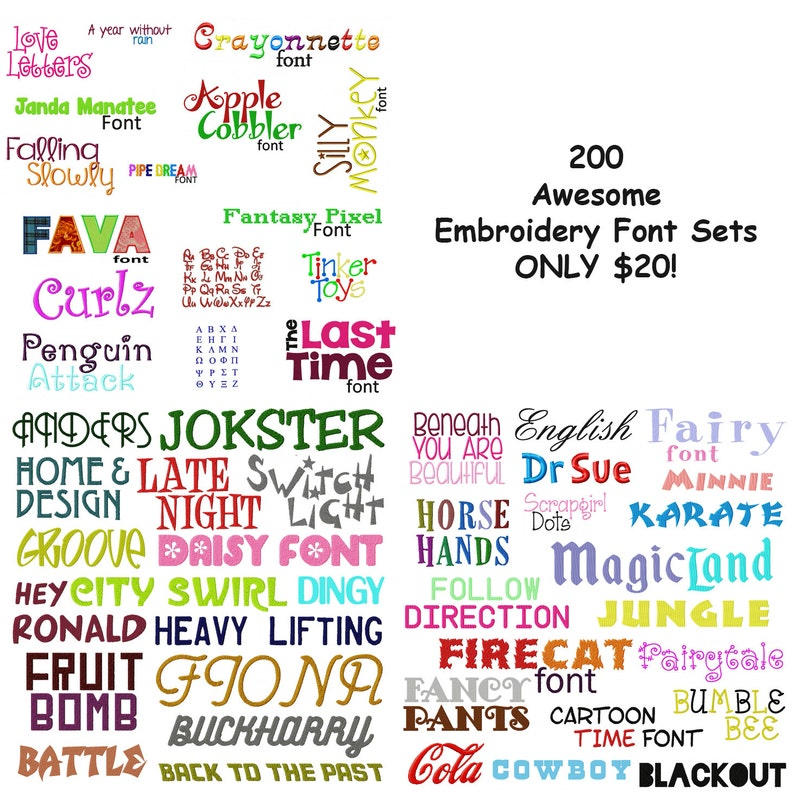 Machine Embroidery Designs Must See 200 Of My Best Font Sets image 0