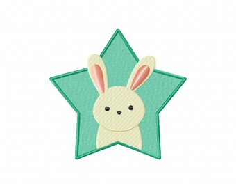 INSTANT DOWNLOAD Bunny Star Machine Embroidery Design