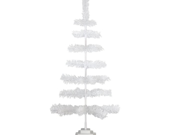 """36"""" White Christmas Tree Classic Style Tinsel Feather Christmas Tree Table-Top Centerpiece Holiday Decor Display Merchandising Xmass Tree 3'"""