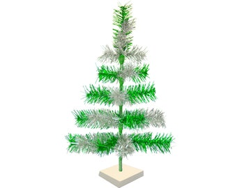 Green & Silver Mixed Tinsel Christmas Tree Vintage Feather Style Decorative Tabletop XMASS Trees Made in the US