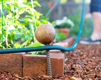 Garden Hose Stake Guides Set of 4 with Spiked Rebar Stakes 3in Diameter Steel Gazing Balls Rusted Patina Finish