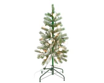 3FT Green Aspen Pine Flocked Christmas Tree Pre-Lit LED White Lights & Stand