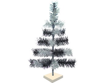 Black & Silver Mixed Tinsel Christmas Tree Vintage Feather Style Decorative Tabletop XMASS Trees Made in the US