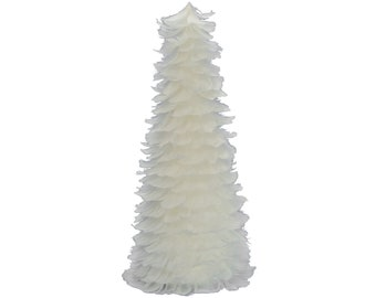 White Goose Feather Christmas Tree Cone 18in Tall Tabletop Centerpiece Decor