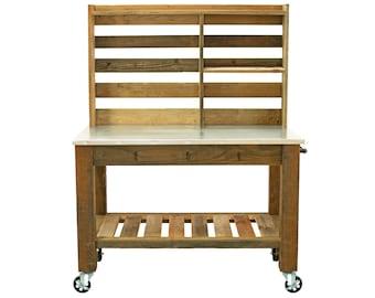 Potting Table Work Station Buffet Island Cart Outdoor Garden Furniture Redwood Zinc Top 5in Galvanized Steel Iron Swivel Wheels & Brakes