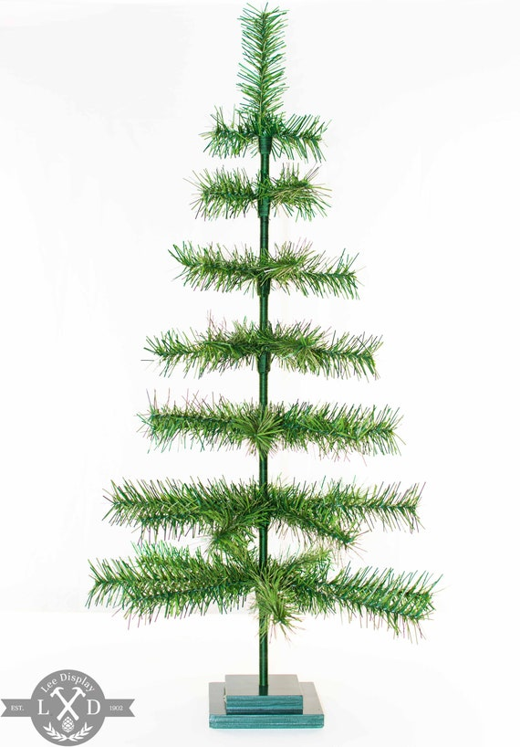 Christmas Tree Tinsel.36 Alpine Green Christmas Tree Tinsel Feather Style Decorative Holiday Display Merchandising Tree Forest Natural Green Color 3ft Table Top