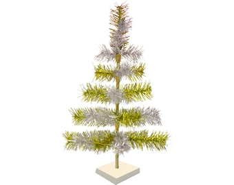 Gold & Silver Mixed Tinsel Christmas Tree Stand Included