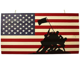 Wooden American Flag w/ the Raising the Flag on Iwo Jima Stenciled Redwood 48IN X 27IN