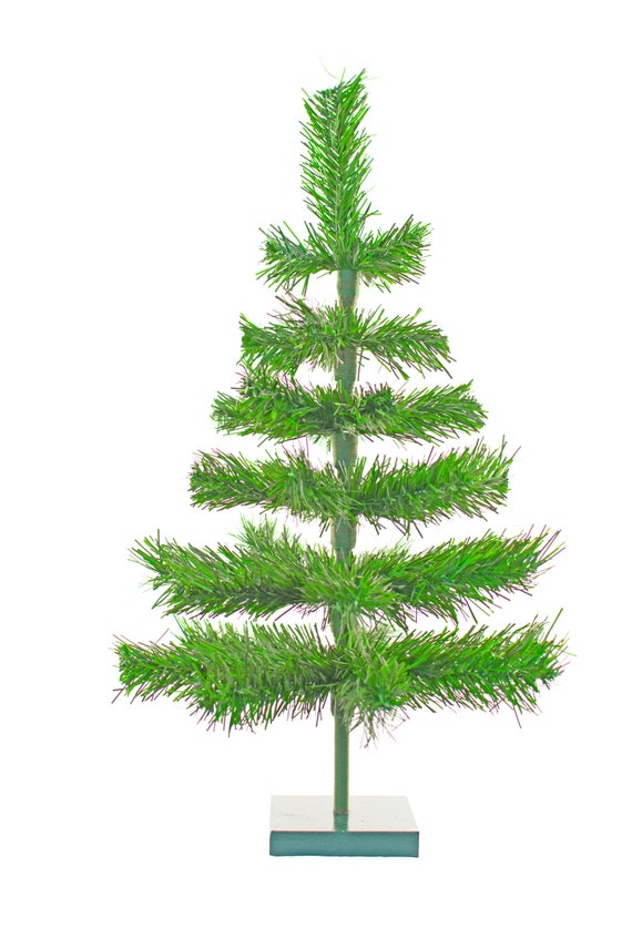 Christmas Tree Tinsel.24 Alpine Green Christmas Tree Tinsel Feather Style Decorative Holiday Display Merchandising Tree Forest Natural Green Color 2ft Table Top