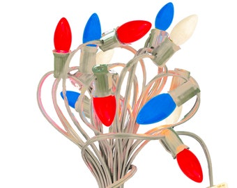 4th of July Outdoor Patio Lights Red White & Blue C7 Solid Ceramic Multicolor Steady Incandescent E12 25FT White Green Black Cord Included