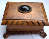 Vintage Handmade Curving Bulgarian Wooden Jewelry Box Jewelry box with lid Trinket box 1980s
