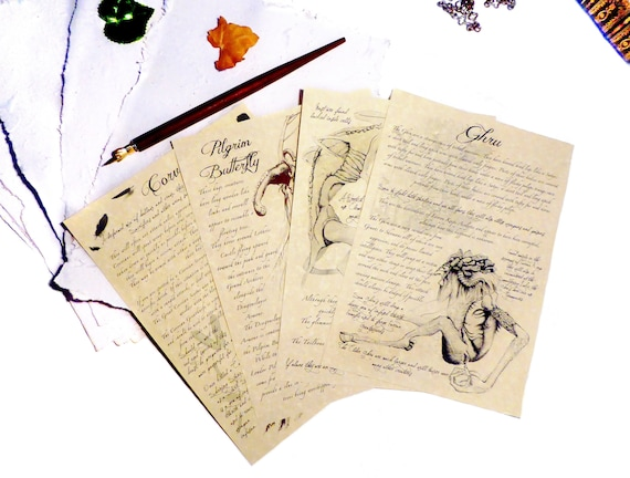 Dark Souls Inspired Bestiary Journal Pages Ghru Corvian Pilgrim Butterfly Gift