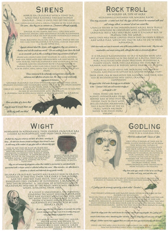 Bestiary Part 3: Witcher Inspired Journal Pages - Godling, Wight, Siren,  Rock Troll