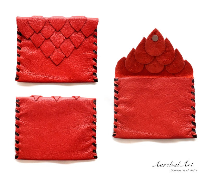 c4bfc32a0a Red Dragon Leather Bag Dragon scale purse Genuine leather