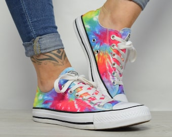 41075008be7908 Vintage 90s Converse Colourful Tie Dye Ox Shoes Chuck Taylor All Star  Grunge Festival Label Size UK 5 EU 37.5 US Mens 5 Womens 7 cm 24