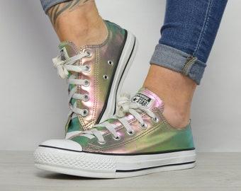 1af4d690d8b5 Vintage 90s Converse Colourful Iridescent Ox Shoes Trainers Sneakers Preppy  Retro Label Size UK 4 EU 36.5 US Mens 4 Womens 6 cm 23