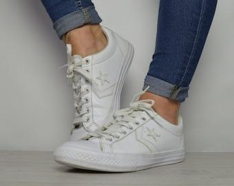 Vintage 90er Jahre Converse weiß ein Stern Ox Schuhe niedrige Tops  Turnschuhe Trainer Chuck Taylor All Star Damen Größe UK 6 EU 39 uns 8 cm  24,5 3949cba962