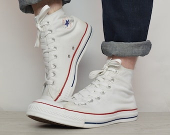 8c41534fcd79 Vintage 90s Converse White Hi-Tops Trainers Sneakers Chuck Taylor All Star  Hipster Label Size UK 12 EU 46.5 US Mens 12 Womens 14 cm 30.5