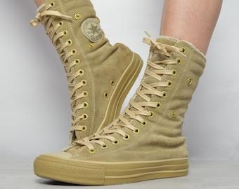 e3ba3e8e1786 Vintage 90s Converse Beige Suede   Cream Fleece Lined X-Hi Hi-Tops Trainers  Sneakers Label Size UK 5.5 EU 38 US Mens 5.5 Womens 7.5 cm 24.5