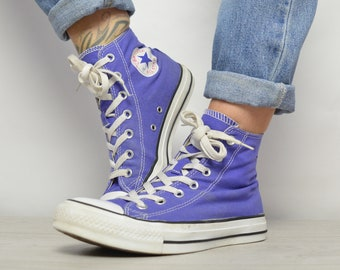 c8fb4ab958b Vintage 90s Converse Purple Hi-Tops Trainers Sneakers All Star Chuck Taylor  Grunge Retro Label Size UK 6 EU 39 US mens 6 Womens 8 cm 24.5