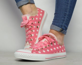 cf48b57c04d9 Vintage 90s Converse Pink   White Polka Dot Double Tongue Ox Shoes Low Tops  Trainers Sneakers Preppy Womens Size UK 5 EU 37.5 US 7 cm 24