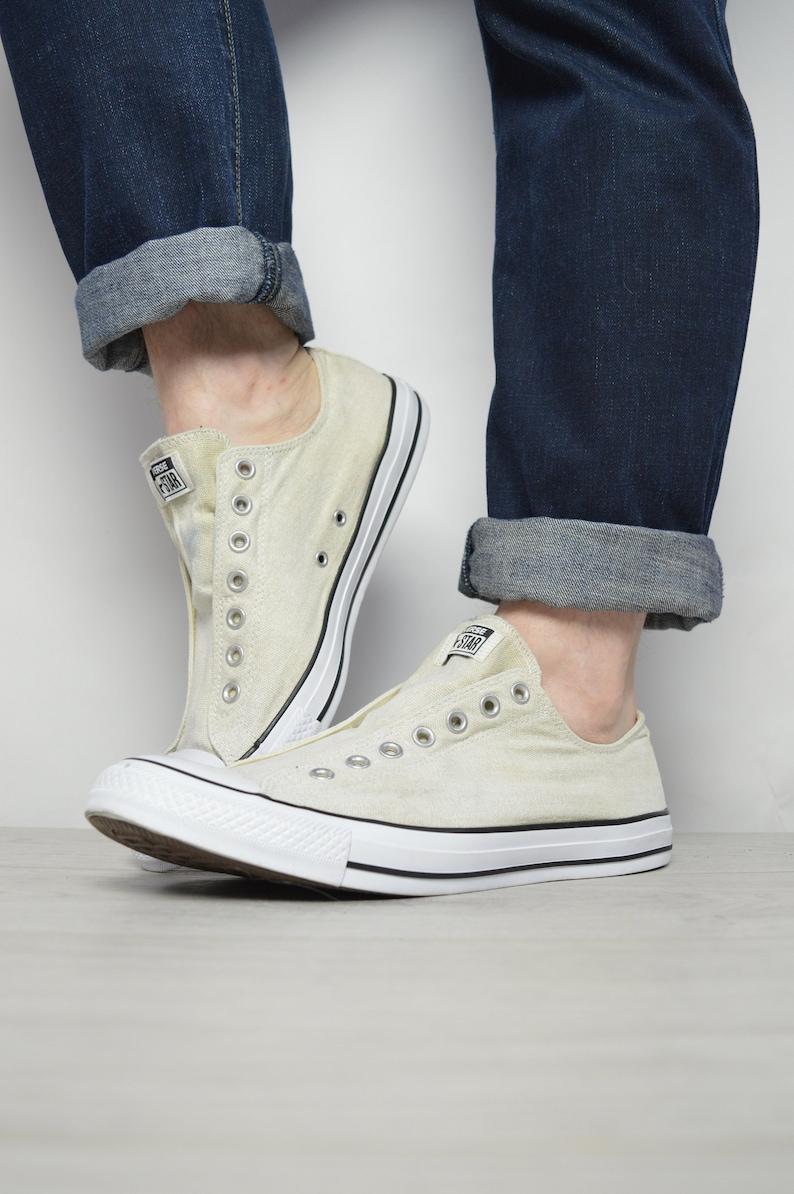 897aa1a7907de Vintage 90s Converse Beige Slip On Ox Shoes Chuck Taylor All Star Grunge  Preppy Retro Label Size UK 12 EU 46.5 US Mens 12 Womens 14 cm 30.5