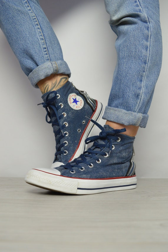 Vintage 90s Converse Navy Stonewash Hi-Tops Trainers Sneakers  99367e9d5