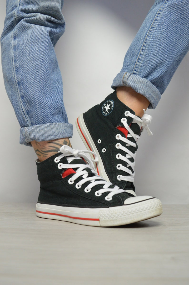 02620fb2b733 Vintage 90s Converse Black Red   Grey Hi-Tops Trainers