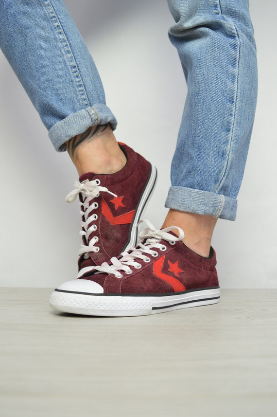 1c49d91e24ce Vintage 90s Converse Burgundy   Red Suede Ox Shoes Low Tops