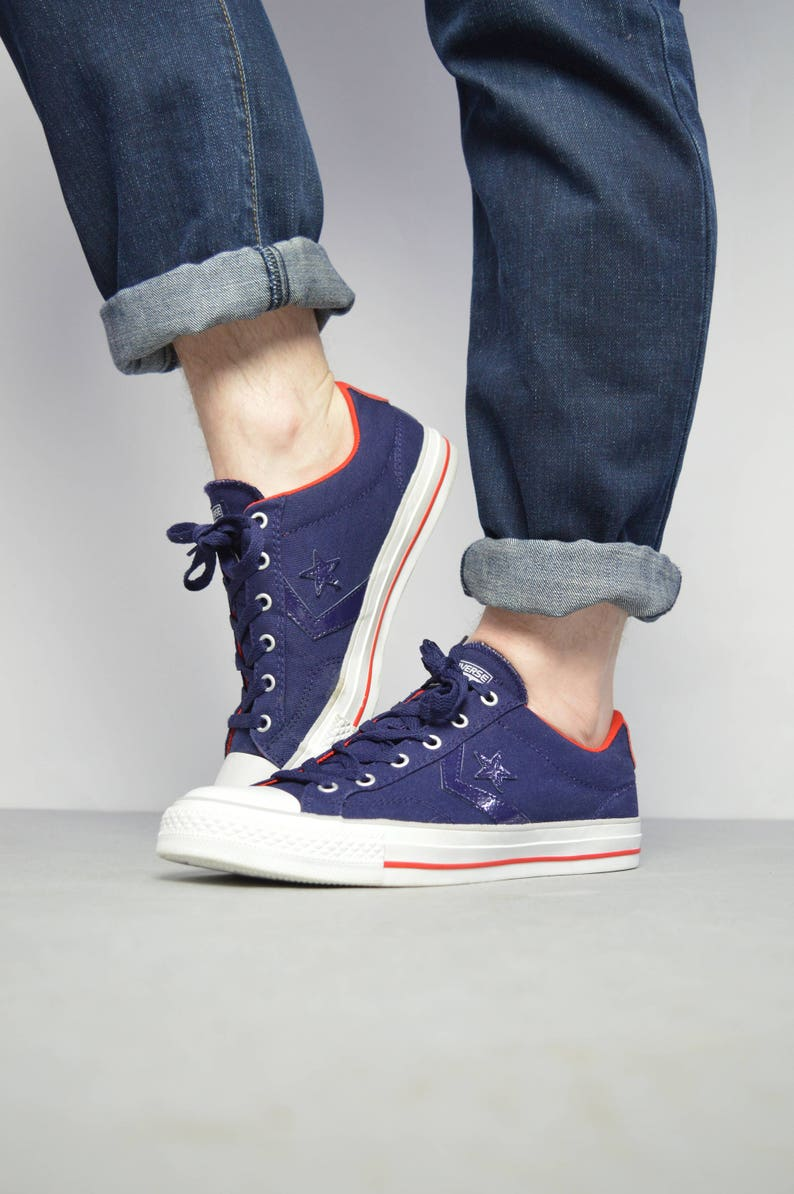 552996e2f13a Vintage 90s Converse Navy   Red One Star Ox Shoes Low Tops