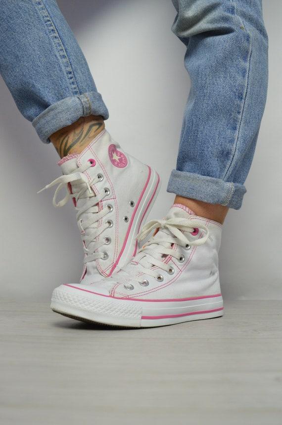 81e2baa2e90f Vintage 90s Converse White with Pink   Peach Double Tongue