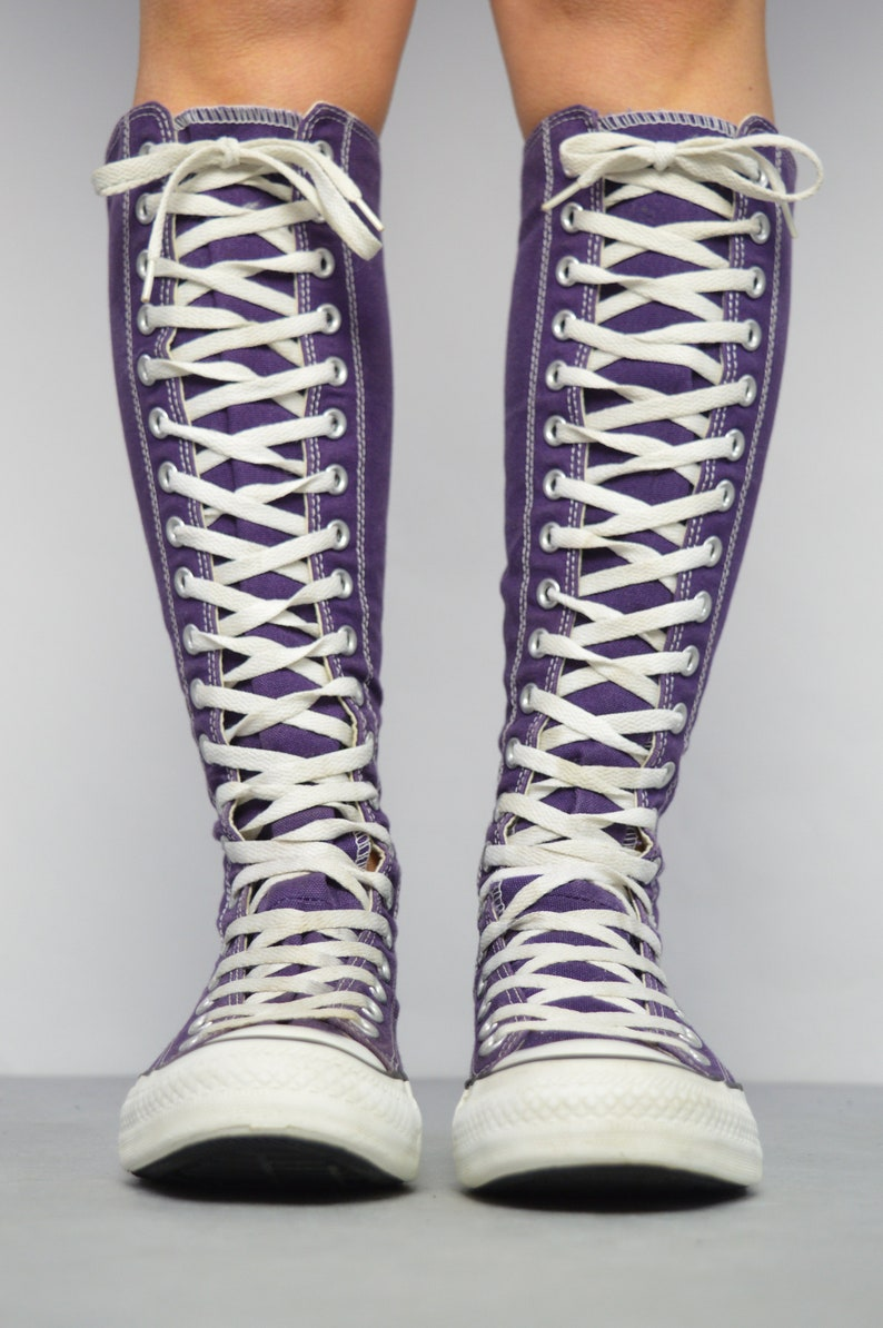 Vintage 90s Converse Purple & White X X Hi Hi Tops Trainers Sneakers All Star Chuck Taylor Grunge Label Size Womens UK 4 EU 36.5 US 6 cm 23