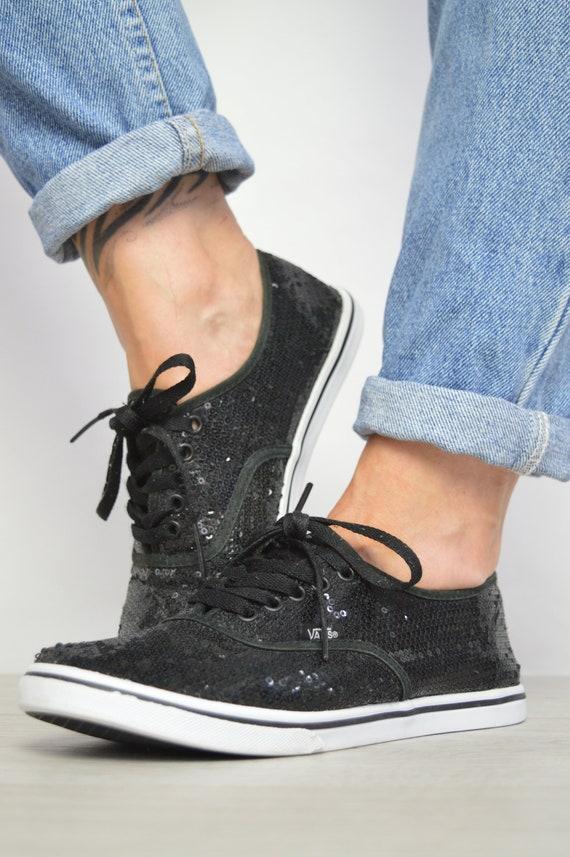 Vintage 90s Vans Black Sequin Skate Shoes Trainers Sneakers Skateboard Retro Preppy Label Size UK 5 EU 38 US Mens 6 Womens 7.5 cm 24