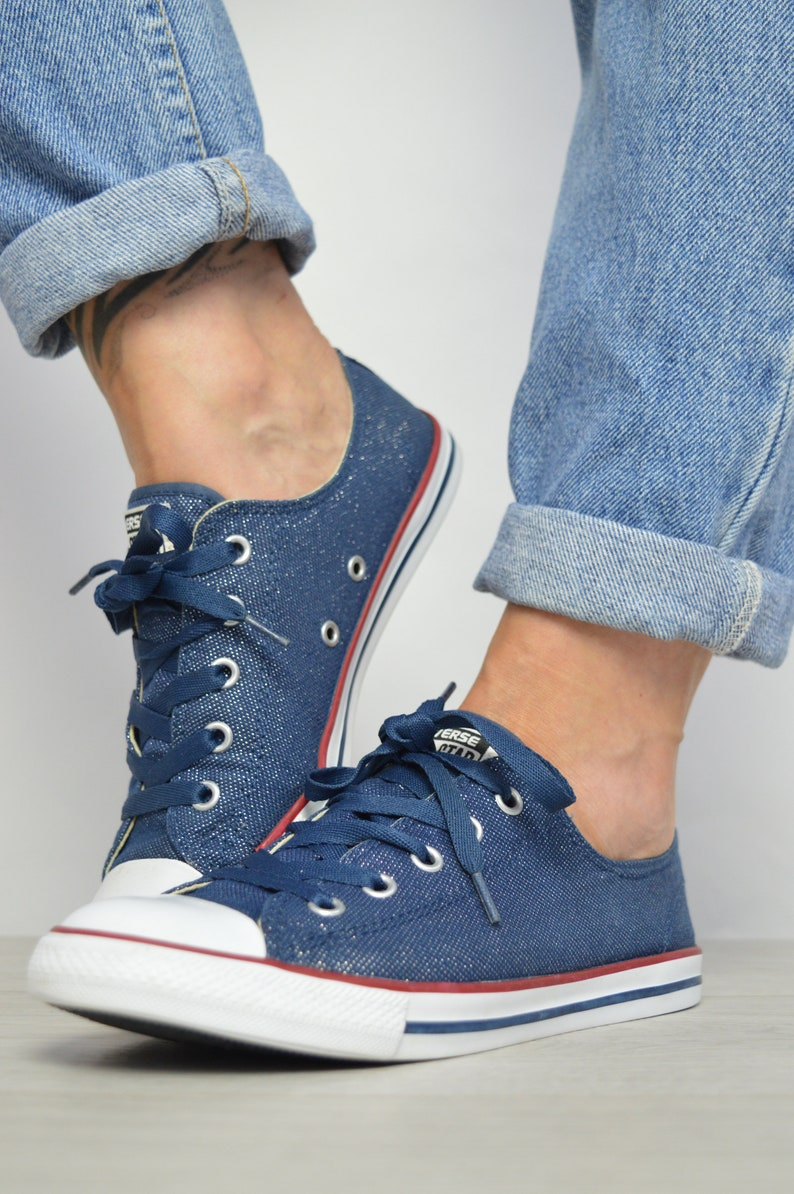 0eedf5549ada Vintage 90s Converse Navy Sparkly Dainty Ox Shoes Trainers
