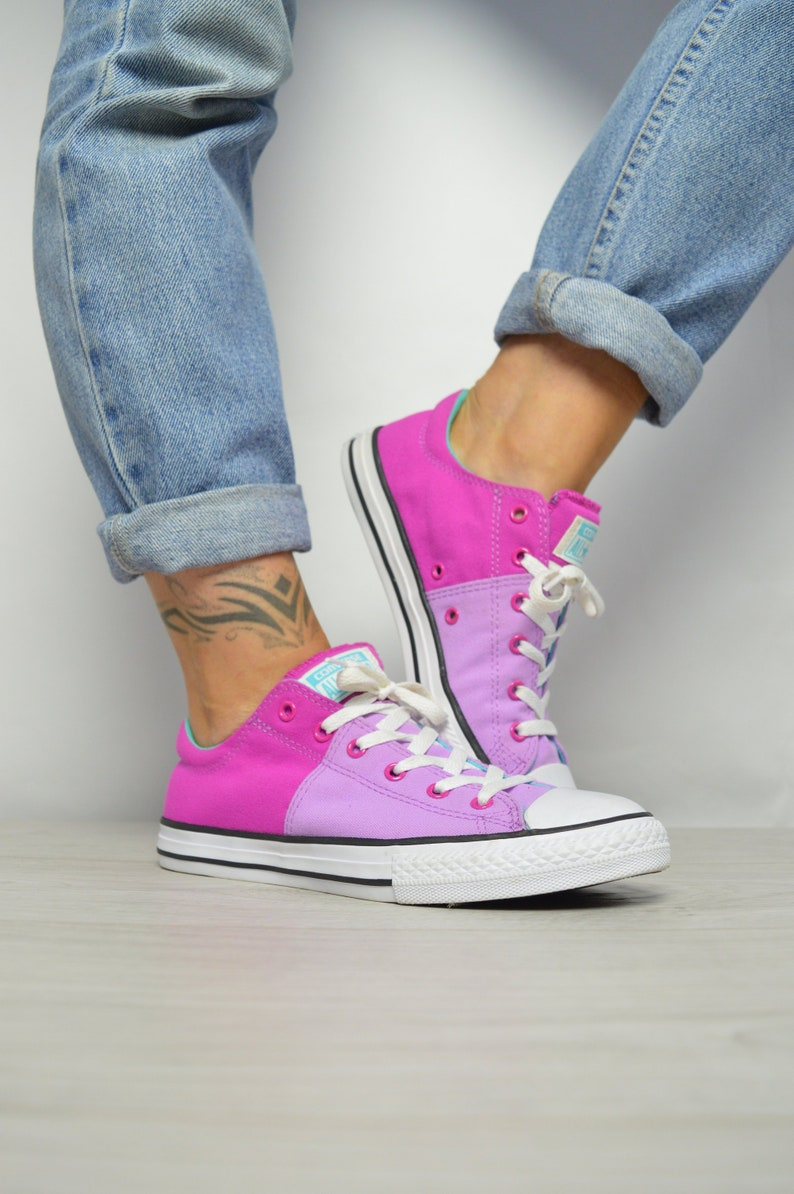 06e76a05784c Vintage 90s Converse Pink   Purple Ox Shoes Low Tops Trainers