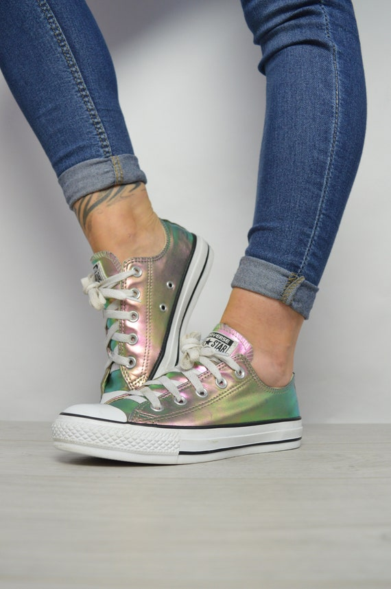 3864fe6591ff Vintage 90s Converse Colourful Iridescent Ox Shoes Trainers