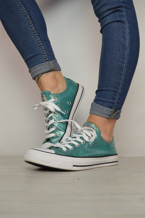 c07af453d238f6 Vintage 90s Converse Green Sparkly Patent Ox Shoes Trainers