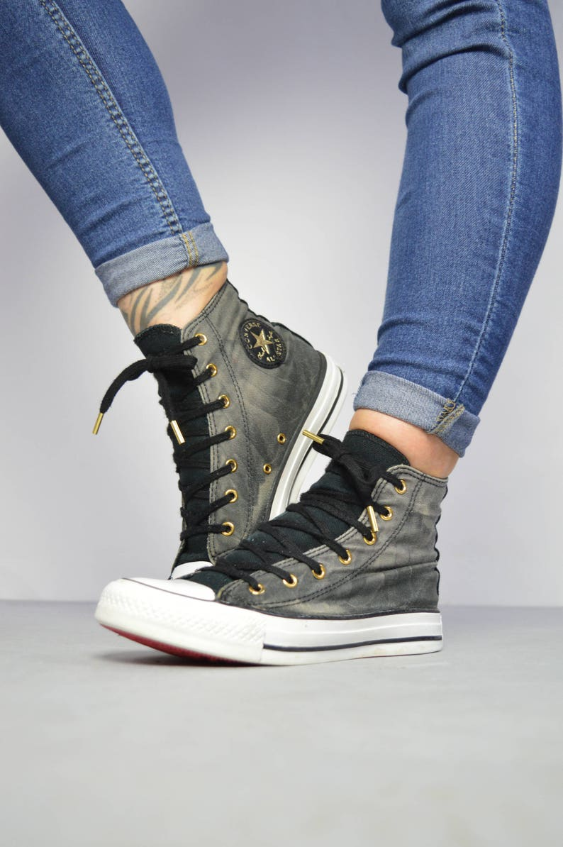 78514d0bc369 Vintage 90s Converse Black Tie Dye Hi-Tops Trainers Sneakers Chuck Taylor  All Star Retro Grunge Label Size Womens UK 3 EU 35 US 5 cm 22