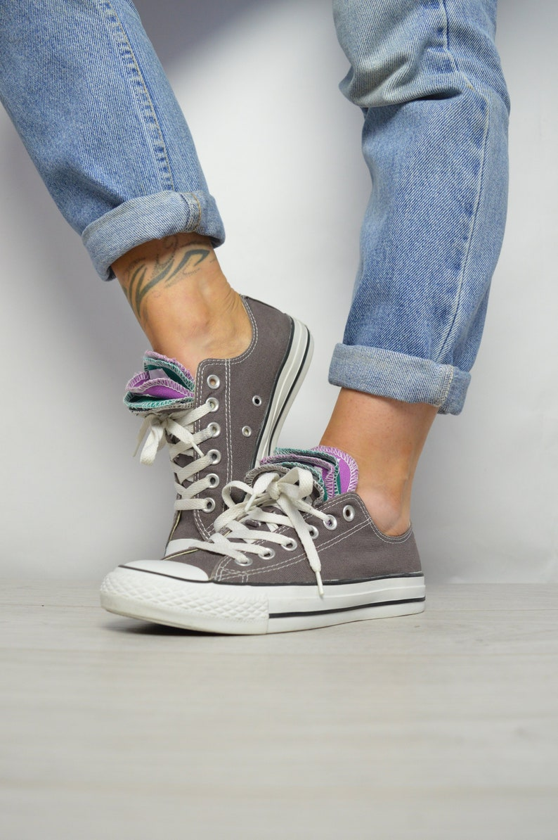 07cc47a9c4a5 Vintage 90s Converse Grey with Green   Purple Multi Tongue Ox