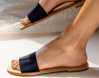 Black velvet slide,wedding sandals,slippers,greek sandals
