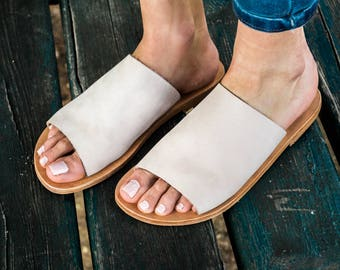 """Nude leather sandals """" Girl boss """", women sandals, greek leather sandals ,flat sandals,slide sandals,slide shows, slippers,mules"""
