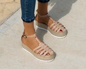 Leather Sandals quot Catwalk quot Nude, genuine leather sandals, greek sandals, flatform sandals, nude sandals,espadrille wedge